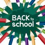 De nouveau à l'école avec des crayons Image stock