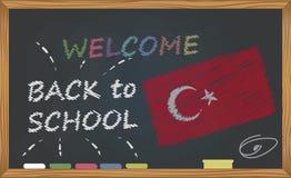 De nouveau à l'école avec le concept d'étude et d'enfance Bannière avec une inscription avec l'accueil de craie de nouveau à l'éc illustration stock