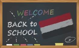 De nouveau à l'école avec le concept d'étude et d'enfance Bannière avec une inscription avec l'accueil de craie de nouveau à l'éc illustration libre de droits
