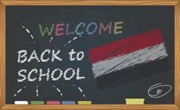 De nouveau à l'école avec le concept d'étude et d'enfance Bannière avec une inscription avec l'accueil de craie de nouveau à l'éc illustration de vecteur
