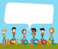 De nouveau à l'école badine au-dessus du texte avec la bulle sociale. Images libres de droits