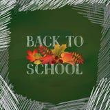 De nouveau à l'école Bannière avec des feuilles d'automne au-dessus de tableau vert illustration libre de droits