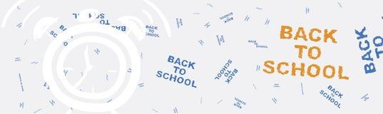 De nouveau à l'école Bannière de Web sur le sujet de l'éducation avec des modèles à l'arrière-plan Illustration plate ENV 10 Photographie stock