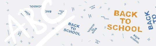 De nouveau à l'école Bannière de Web sur le sujet de l'éducation avec des modèles à l'arrière-plan Illustration plate ENV 10 Photographie stock libre de droits