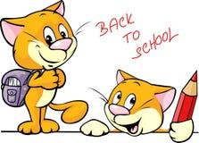 De nouveau à l'école - caractère de chat avec des fournitures scolaires Photos stock