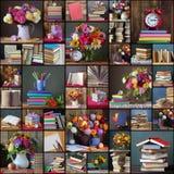 De nouveau à l'école Collage des photos avec des livres et des bouquets Photographie stock libre de droits
