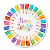 De nouveau à l'école Crayons colorés Image stock