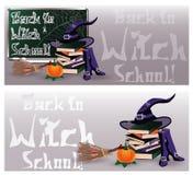 De nouveau à l'école de sorcière Bannières magiques d'invitation Photos stock
