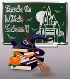 De nouveau à l'école de sorcière Carte de voeux avec des livres Photographie stock libre de droits