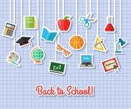 De nouveau à l'école et aux icônes plates d'éducation avec l'ordinateur, ouvrez le livre, bureau, globe Éléments de papier d'auto Images libres de droits