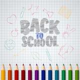 De nouveau à l'école gribouille des éléments avec les crayons colorés illustration libre de droits