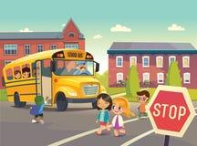 De nouveau à l'école Illustration dépeignant l'arrêt d'autobus scolaire Photo libre de droits