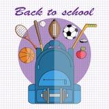 De nouveau à l'école Illustration de vecteur dans le style plat École-sac à dos avec des boules d'haltère, de football et de bask illustration stock