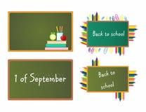 De nouveau à l'école L'inscription sur le conseil pour le premier septembre Bientôt à l'école Un conseil pédagogique avec une ins illustration de vecteur
