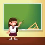 De nouveau à l'école L'écolière se réunit au tableau noir illustration libre de droits