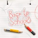 De nouveau à l'école, manuscrite avec le crayon rouge. Photographie stock libre de droits
