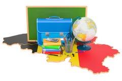 De nouveau à l'école ou à l'éducation dans le concept de la Belgique, rendu 3D illustration de vecteur