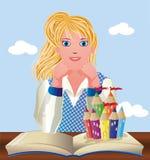 De nouveau à l'école Petite écolière mignonne avec le livre et le château Image stock