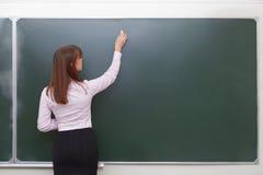 De nouveau à l'école Portrait de professeur avec la craie Images stock