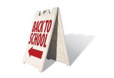 De nouveau à l'école - signe de tente Photographie stock libre de droits