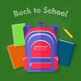 De nouveau à l'école Violet Backpack avec les lignes rouges illustration de vecteur