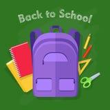 De nouveau à l'école Violet Backpack Fournitures de bureau Image libre de droits