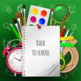 De nouveau à l'affiche d'école, fournitures scolaires colorées : cahier, peinture, aquarelle, brosse, crayon, règle, réveil Image stock