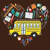 De nouveau à l'autobus scolaire d'école et aux articles d'école Photographie stock