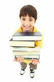 De nouveau à l'enfant de garçon d'école avec des manuels Photos stock