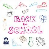 De nouveau à l'ensemble d'école d'illustrations de griffonnage d'école Photo libre de droits