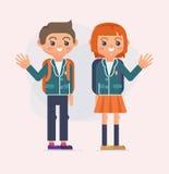 De nouveau à l'illustration d'école des enfants Adolescents stylisés de livre dessinés Photo libre de droits