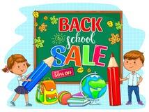 De nouveau à l'illustration de vente d'école avec le conseil pédagogique et les enfants mignons Image stock