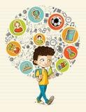 De nouveau à la bande dessinée colorée BO d'icônes d'éducation d'école Photographie stock libre de droits