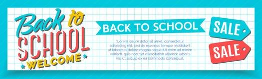 De nouveau à la bannière d'école avec le label de couleur et la vente d'école sur le checke Image libre de droits
