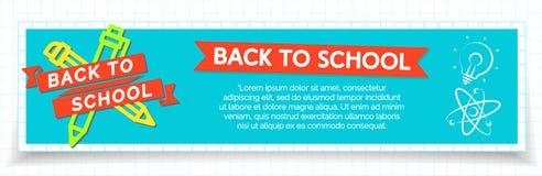 De nouveau à la bannière d'école avec le label de couleur se composant du stylo et du stylo Photographie stock libre de droits