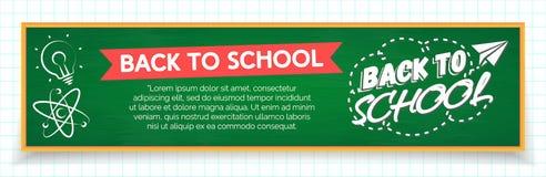 De nouveau à la bannière d'école avec le label et les fournitures scolaires tels nous lig Photographie stock libre de droits