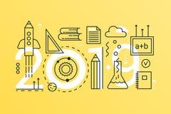 De nouveau à la bannière à la mode de concept de composition en mot de l'école 2019 Décrivez l'école de course, université, la co illustration de vecteur