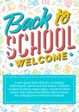De nouveau à la carte d'école avec l'accueil se composant de signe de label de couleur Photo libre de droits