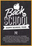 De nouveau à la carte d'école avec le label blanc sur le tableau noir Photographie stock libre de droits