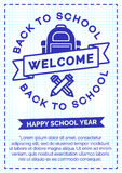 De nouveau à la carte d'école avec le label cyan de couleur se composant de l'école b Photo stock