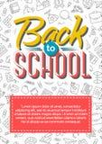 De nouveau à la carte d'école avec le label de couleur sur les fournitures scolaires Co noire Image stock