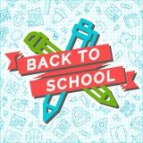 De nouveau à la carte d'école avec le ruban, le stylo et le crayon d'école sur le seamle Photos stock
