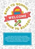 De nouveau à la carte d'école avec le sac à dos, le stylo et le crayon d'école de couleur Image libre de droits