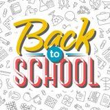 De nouveau à la carte d'école sur le modèle sans couture des fournitures scolaires Image stock