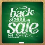 De nouveau à la craie de tableau noir de vente d'école Image stock