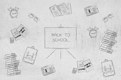 De nouveau au blackboad d'école entouré par les icônes orientées Images libres de droits