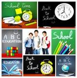 De nouveau au collage de concept d'école Photographie stock libre de droits