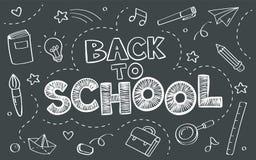 De nouveau au concept d'école avec des objets sur l'affiche de tableau noir dans le style de griffonnage image libre de droits