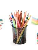 De nouveau au concept d'école. Crayons. Images stock