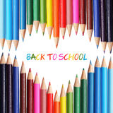 De nouveau au concept d'école Crayons colorés Photos stock